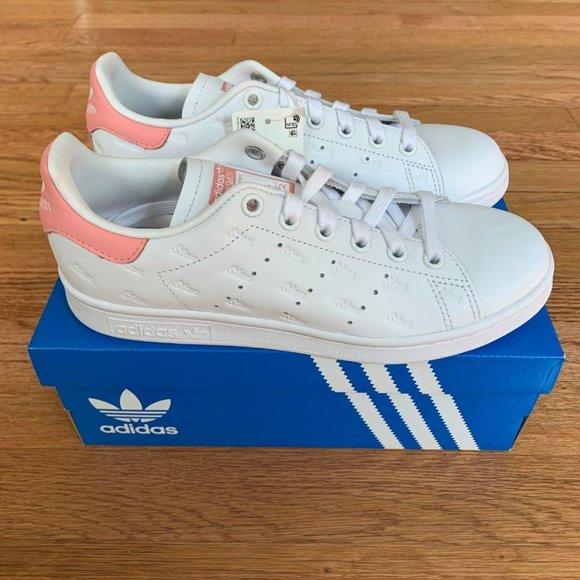 Adidas Stan Smith White/Glow Pink Womens Shoes NWT